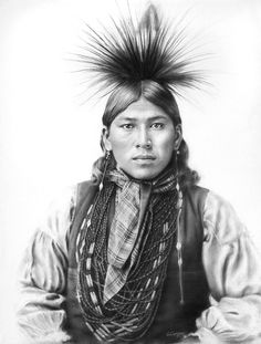 native american indians Drawn in charcoal. Image size: 23 x