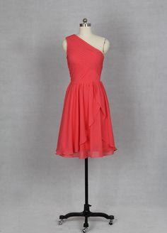 One Shoulder Coral Short Bridesmaid Dress 2013. $89.00, via Etsy.