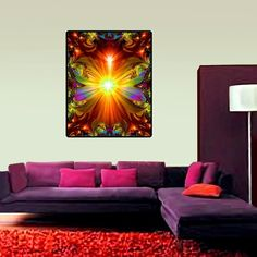"""Psychedelic Tapestry, Reiki Healing, Chakra Art, Unique Decor, Meditation Art,  """"Light Being"""" 40"""" x 50"""""""
