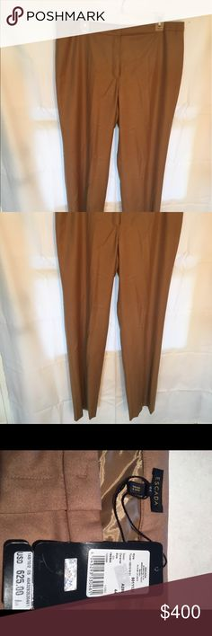 Escada caramel wool lined trousers Super high quality and new with tags.   Straight and pocketless. Escada Pants Trousers