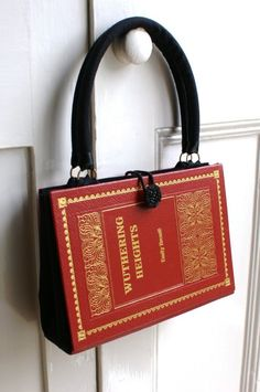 Red black and gold handbag made from a vintage book by bookity
