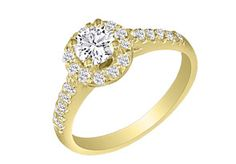 Hansa 1ct Diamond Round Engagement Ring in 18k Yellow Gold, I-J, SI2-I1, Available Ring Sizes 4-9.5