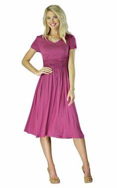 """Lilian"" Modest Dress in Boysenberry    try tucks instead of gathers in midriff"