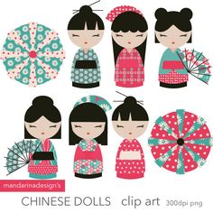 Kokeshi poupées clipart Webdesign scrapbooking par MandarinaDesign