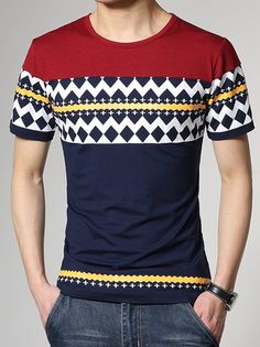 Slimming Stylish Round Neck Color Block Ethnic Geometric Print Short Sleeve Cotton Blend T-Shirt For Men