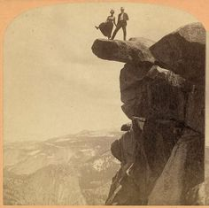 A couple braves the edge of Overhanging Rock at Glacier Point in Yosemite National Park, circa 1902
