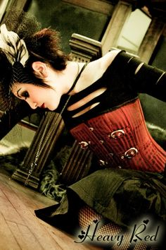 True Blood Sanguine Striation Steel Boned Gothic Corset - Heavyred...you should spend all your money there :)