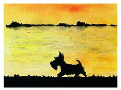 SCOTTISH TERRIER SCOTTIE DOG FINE ART PRINT 'Sunset Walk' SIGNED   eBay