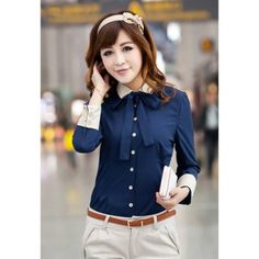 Ladylike Style Long Sleeves Shirt Neck Polyester Single-Breasted Color Block Women's Shirt, BLUE, S in Blouses | DressLily.com