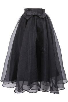 Bowknot Elastic Waist Organza A-Line Midi Skirt