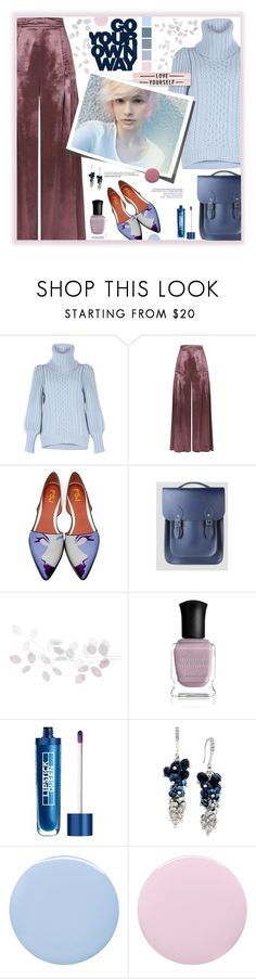 """Party with your Pants On (for @youaresofashion) 🎂 🎊💓"" by fassionista ❤ liked on Polyvore featuring Temperley London, A by Amara, Deborah Lippmann, Lipstick Queen, INC International Concepts, Blue, party, pants, mauve and leathersatchel"
