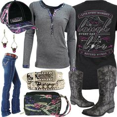 Click Each Item for More Info Live Laugh Love Shirt Muddy Girl Henley Shirt Pierre Dumas Boots Wrangler Cowgirl Jeans Muddy Girl Quilted Bag Nocona Crystal Belt