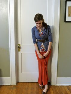Cute blouse + cardi + belt + LuLaRoe maxi  + flats = super cute