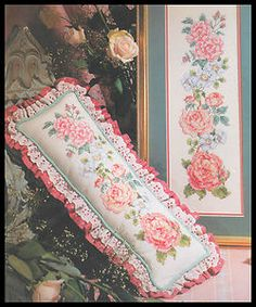 "VINTAGE BUCILLA FLORAL ""WILD ROSES"" PICTURE OR PILLOW STAMPED CROSS STITCH KIT"