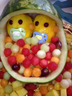 Awesome Chai Lattes And The Christian Life Posted This Cool Twins Baby Shower Fruit  Bowl!