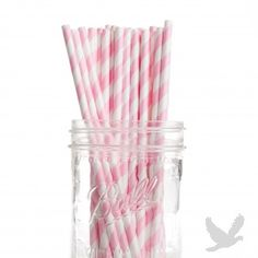 Vintage Paper Drinking Straws - Bubblegum Pink Striped Paper Straws (Pack of 25 Retro Straws)