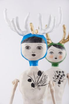 Art Doll with Antlers, Clay Deer Doll, Handmade Doll with  Embroidered Skirt, Mixed Media Art Object, Deer Sculpture, Afra, READY TO SHIP
