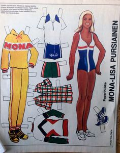Paper doll Mona-Lusa Pursiainen of Fabric Doll Pattern, Fabric Dolls, License Plate Art, Dress Up Dolls, Vintage Paper Dolls, Finland, Nostalgia, Printables, Play