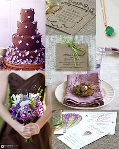 Brown, Purple, and Green Rustic Wedding Inspiration: www.sofiainvitationsblog.com, kraft paper wedding program!