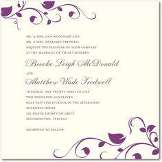 Seasonal Floral: Eggplant  Wedding Paper Divas