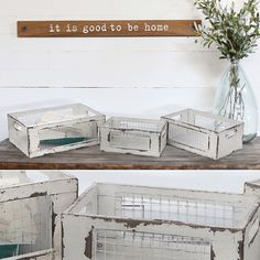 AHHHmazingly white rustic crates that will add farmhouse charm to any space. Set of 3, great for the living room or bedroom, stacked as a shelf or filled with floral decor. For the best vintage accents visit www.decorsteals.com OR www.facebook.com/DecorSt