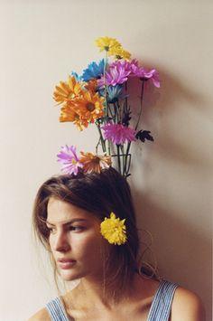 head full o' flowers