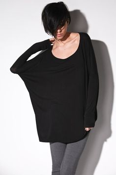 Oversize Raglan Shirt Long Sleeve - Womens Clothing Black Top Small Medium Large. $44.00, via Etsy.