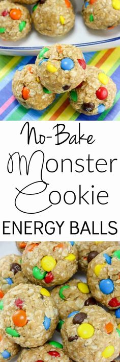 These No-Bake Monster Cookie Oatmeal Energy Balls are so easy to make and are the perfect healthy after school snack - Quick Oats Peanut Butter Honey Mini M&M's Baking Recipes, Snack Recipes, Dessert Recipes, Oatmeal Energy Bites, Low Carb Dessert, Tasty, Yummy Food, Energy Balls, Banana Split