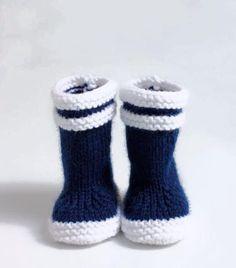 Chaussons bottes de pluie Bébé ou reborn tricotés mains : Mode Bébé par marie-boutdefil