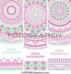 Tribal ethnic vintage banners View Large Clip Art Graphic
