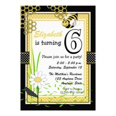 Cute Bumble Bee 6th Birthday Party Invitation