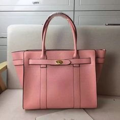 2017 New Mulberry Zipped Bayswater Tote in Macaroon Pink Small Classic Grain
