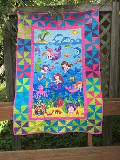 Crib Quilt ePattern 4749-1 children's wall by castillejacotton ... : mermaid quilts - Adamdwight.com