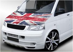 There are no gaps or clear areas in this bonnet graphic, so this graphic can be fitted to any colour van. These are high resolution prints, made on a high specification vinyl inkjet Volkswagen Transporter, Vw T5, Car Stickers, Car Decals, Inkjet Printer, Car Wrap, Union Jack, Grunge, Wraps