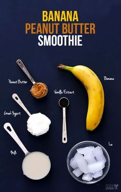 Awesome peanut butter banana smoothie recipe!!! 1 large banana 1 cup of ice 1/2 cup of milk 1/4 cup of Greek yogurt 1 LARGE tablespoon of peanut butter and 1/2 teaspoon of vanilla extract!