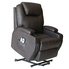 Action Club Deluxe Power Lift Heated Vibrating Massage Recliner Chair with Wheels  Brown -- To view further for this item, visit the image link.