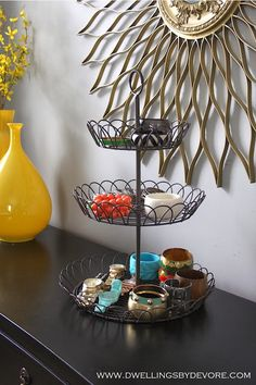 tiered stand for bracelet organization