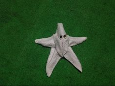 Star fish designed by one small towel Hang Towels In Bathroom, Towel Origami, Towel Display, Towel Animals, How To Fold Towels, Baby Washcloth, Towel Crafts, Baby Towel, Decorative Towels
