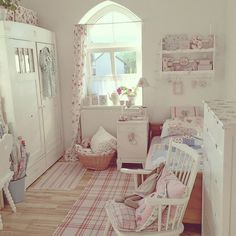 Shabby and Charming: The new home of Eve in Germany. Bedroom / craft room. Could use an old wardrobe to store craft materials