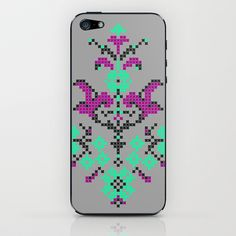 Cross Stitch Pattern Violet Mint Black iPhone & iPod Skin by uramarinka - $15.00