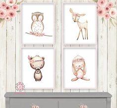 4 Deer Bunny Rabbit Bear Owl Tribal Feather Wall Art Print Woodland Boho Bohemian Floral Nursery Baby Girl Room Set Lot Prints Printable Home Decor