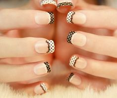 Have glowing looking nails with this elegant French tips. Using light pink as base, the nails are thinly tipped in white. The other nails are accented with white and black floral designs, which is pleasing to the eye. White Tip Nail Designs, French Nail Designs, Acrylic Nail Designs, Nail Art Designs, Nails Design, Acrylic Tips, Lace Nail Art, Lace Nails, French Nails