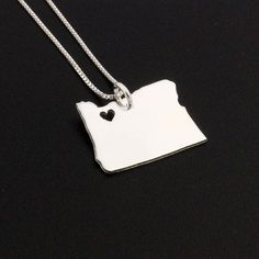 Oregon State necklace Oregon necklace sterling by Silversmith925, $37.00