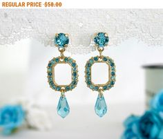 BLACK FRIDAY SALE Mother of the bride earrings Bridal party earrings Blue crystal earrings Blue turquoise earrings blue and gold earr... by AlinYerushalmi from AlinYerushalmi. Find it now at http://ift.tt/2ghJ9c4!