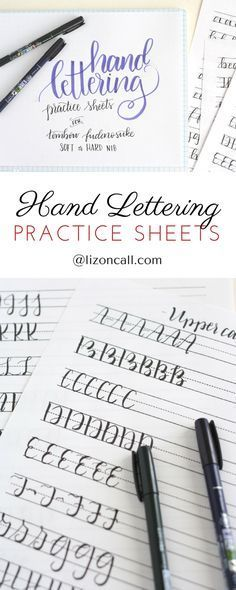 When it comes to hand lettering basics, my best advice is to keep practicing. These free printable hand lettering practice sheets are designed to help you practice the strokes of each letter to build up that muscle memory. Creative Lettering, Brush Lettering, Lettering Ideas, Lettering Styles, Lettering Practice Sheets, Penmanship Practice, Handwriting Practice Sheets, Handwriting Fonts, Bibel Journal