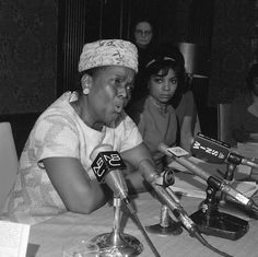 Left to right: Ella Baker and Ruby Dee at the Jeanette Rankin News Conference in 1968. Ella Baker was a civil rights activist that helped organize the Southern Christian Leadership Conference (SCLC) and assisted with the formation of the Student Non-Violent Coordinating Committee (SNCC). Ruby Dee was a film actress and activist who participated in the Civil Rights Movement and was a member of the Congress of Racial Equality (CORE).