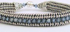 sapphire beaded bracelet by beadnurse on Etsy, $40.00
