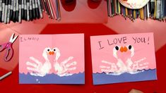 How To Finger Paint Swans – Valentine's Card