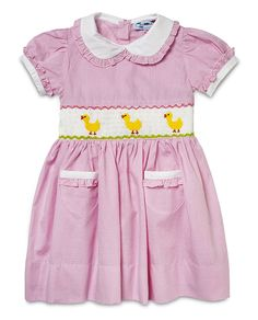 Aurora Royal Baby Girls Hand-Smocked Pink Gingham  Ducklings  Shortsleeves Dress