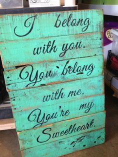 One of my favorite songs, would be perfect for the bedroom! Turquoise Pallet sign with Lumineers lyric by RusticRestyle